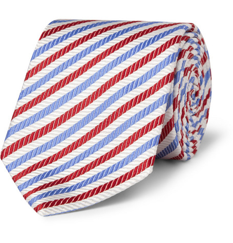 Turnbull & Asser Striped Woven-Silk Tie