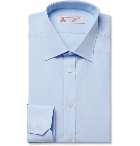 Turnbull & Asser Blue Slim-Fit Cotton Shirt