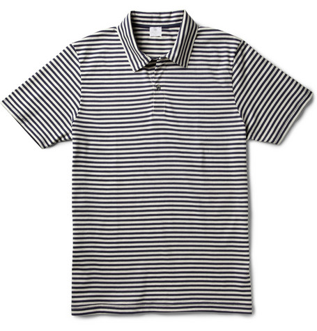 Sunspel Striped Cotton-Jersey Polo Shirt