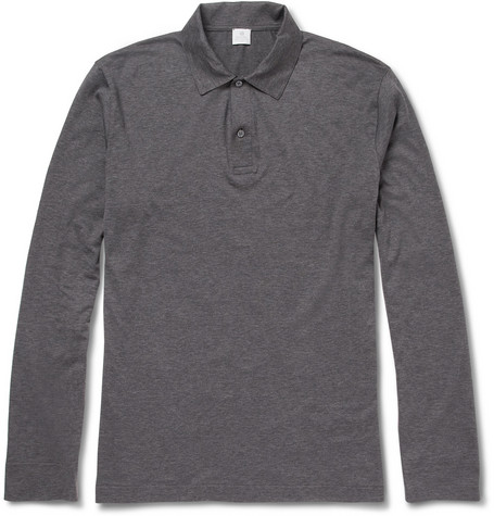 Sunspel Long-Sleeved Cotton-Jersey Polo Shirt