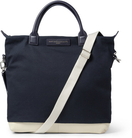 WANT Les Essentiels de la Vie O'Hare Leather-Trimmed Cotton-Canvas Tote Bag