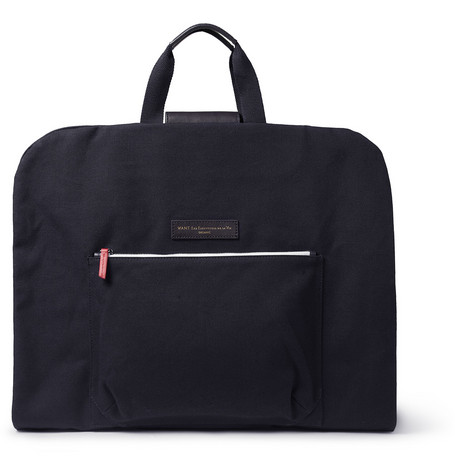 WANT Les Essentiels de la Vie Stansted Leather-Trimmed Canvas Suit Carrier