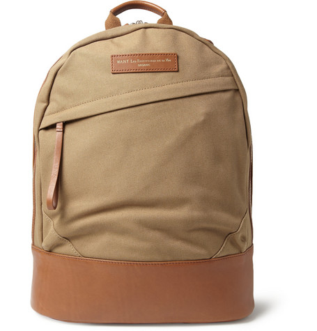 WANT Les Essentiels de la Vie Kastrup Leather-Trimmed Cotton-Canvas Backpack