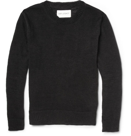 Our Legacy Crew Neck Linen and Cotton-Blend Knitted Sweater