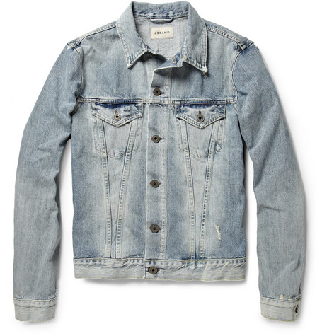 J Brand Distressed Washed-Denim Jacket