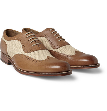 Grenson Kingsley Leather and Fabric Brogues