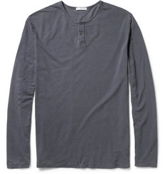 James Perse Long-Sleeved Cotton-Jersey Henley T-Shirt