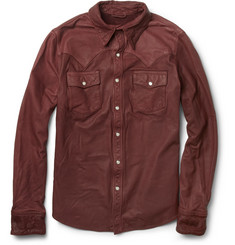 Jean Shop Slim-Fit Washed-Leather Shirt