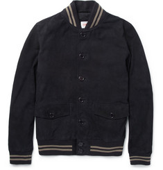 Edwin Homerun Slim-Fit Suede Bomber Jacket