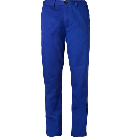 Oliver Spencer Blue Cotton-Twill Suit Trousers