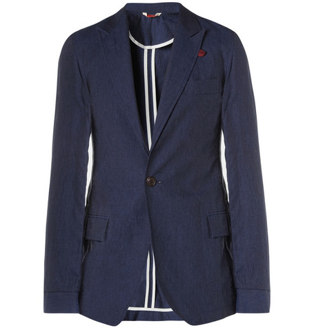 Oliver Spencer Navy Freud Slim-Fit Linen Suit Jacket