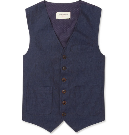 Oliver Spencer Navy Linen and Cotton Waistcoat