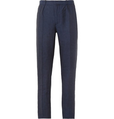 Oliver Spencer Navy Pleated Linen Suit Trousers