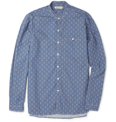 Oliver Spencer Grandad-Collar Printed Cotton Shirt
