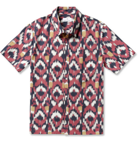 Hentsch Man Havana Ikat-Print Cotton Shirt