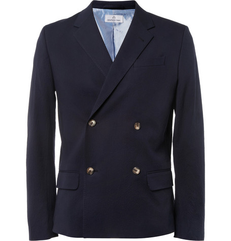 Hentsch Man Dickie Unstructured Cotton-Blend Seersucker Blazer