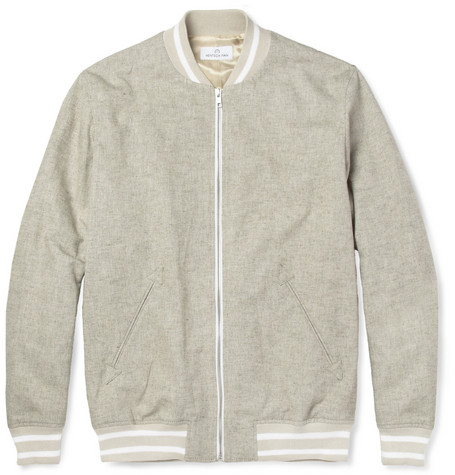 Hentsch Man Cotton and Linen-Blend Bomber Jacket