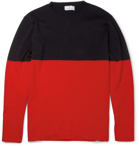Hentsch Man Two-Tone Knitted Cotton Sweater