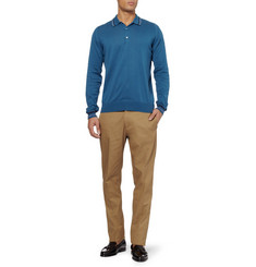John Smedley Terrence Long-Sleeved Sea Island Cotton Polo Shirt