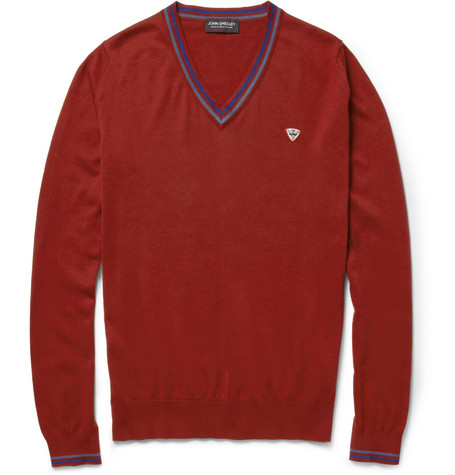 John Smedley Benaud Knitted Sea Island Cotton V-Neck Sweater