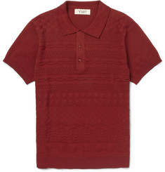 YMC Patterned-Knit Cotton Polo Shirt