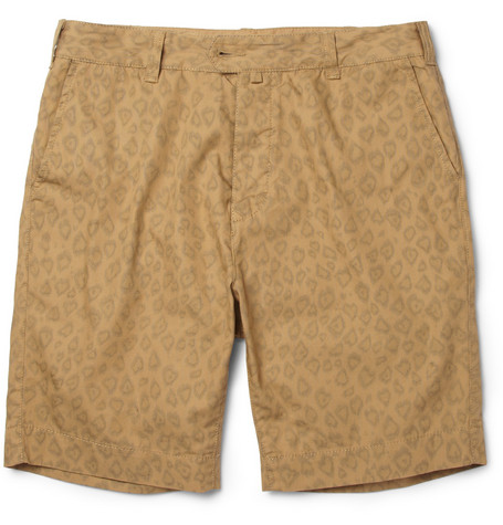 YMC Slim-Fit Leopard-Print Cotton Chino Shorts