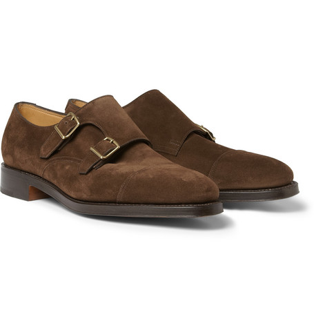 John Lobb William Suede Monk-Strap Shoes