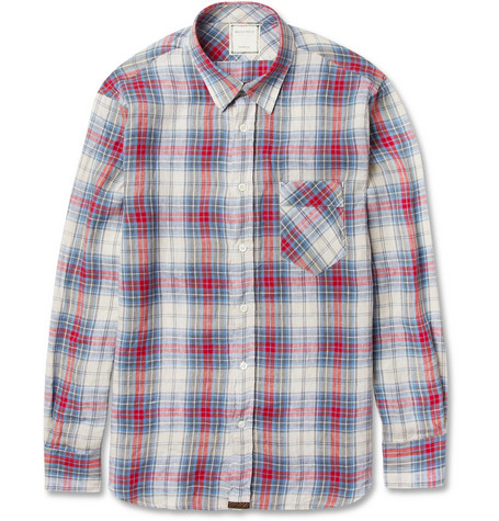 Billy Reid Walland Plaid Linen Shirt