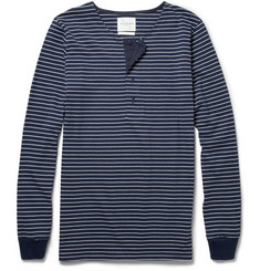 Saturdays Surf NYC Mitch Long-Sleeved Striped Cotton Henley T-Shirt