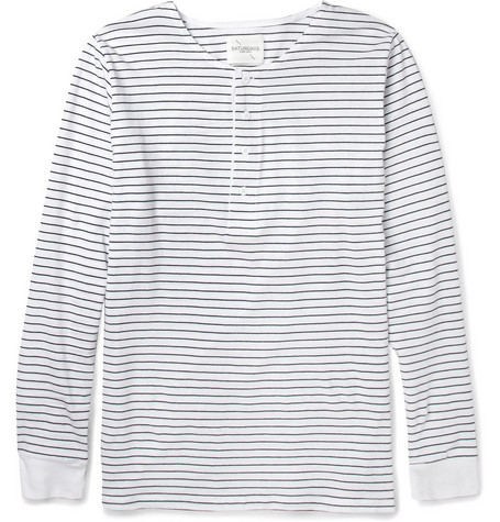 Saturdays Surf NYC Mitch Striped Cotton Henley T-Shirt