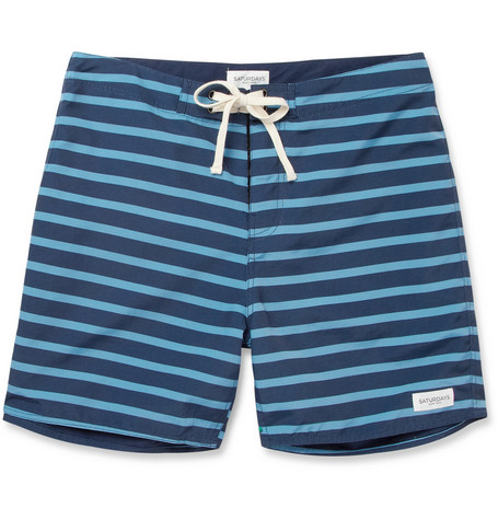 Saturdays Surf NYC Schulze Mid-Length Striped Swim Shorts