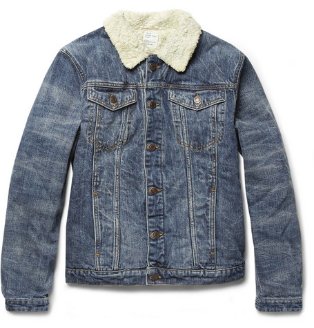 Jean.Machine Sherpa Washed-Denim and Faux Shearling Jacket