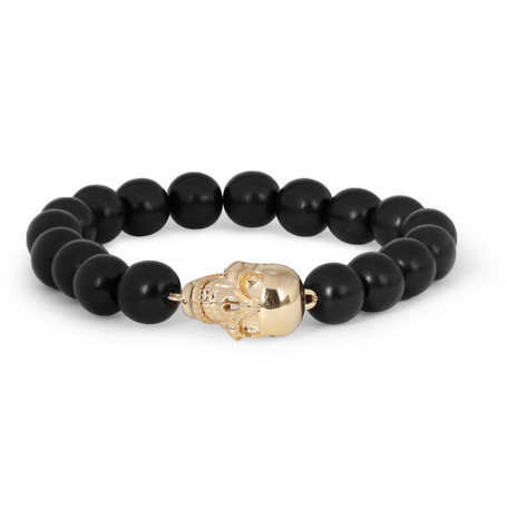 Luis Morais Gold Skull and Ebony Bead Bracelet