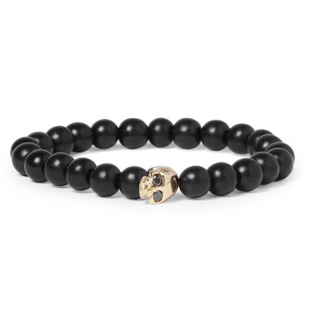 Luis Morais Black Diamond-Embellished Gold and Ebony Bead Bracelet