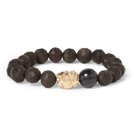 Luis Morais Ebony and Multi Skull Gold Bead Bracelet