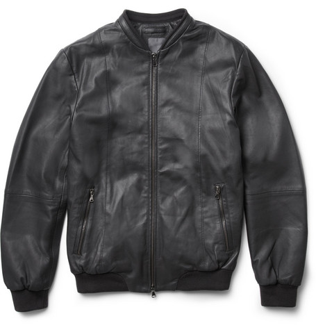 Lot78 Leather Bomber Jacket