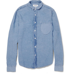 Simon Miller Ridge Slim-Fit Washed Linen-Chambray Shirt
