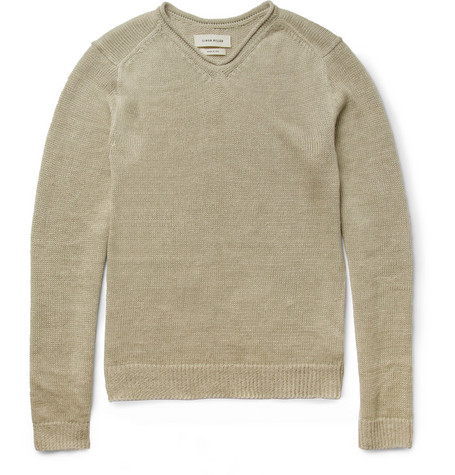 Simon Miller Linen-Knit V-Neck Sweater