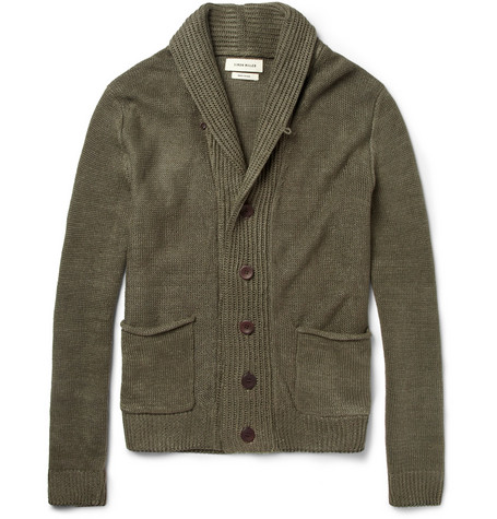 Simon Miller Knitted Linen Shawl-Collar Cardigan