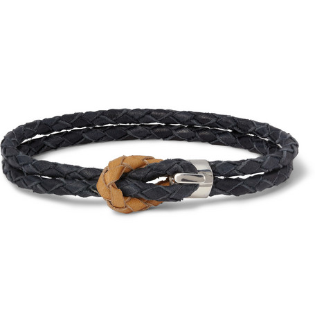 Miansai Woven-Leather and Silver Hook Wrap Bracelet