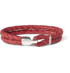 Miansai Woven-Leather and Sterling Silver Hook Bracelet
