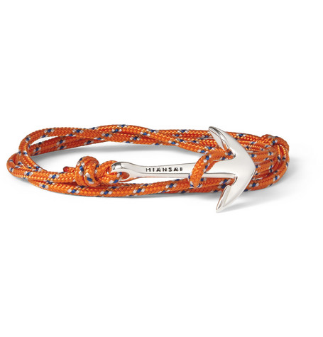 Miansai Woven-Cord and Metal Anchor Wrap Bracelet