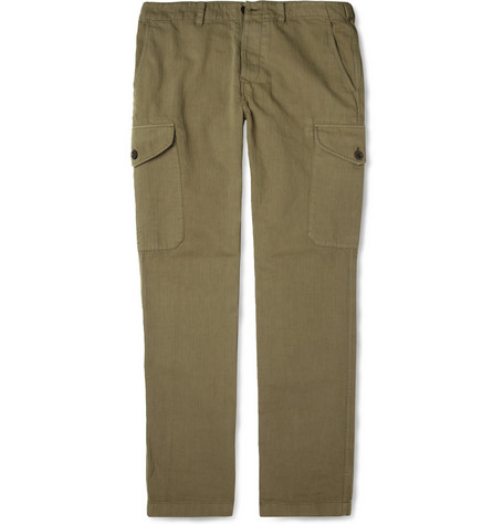Todd Snyder Herringbone Cotton-Blend Cargo Trousers
