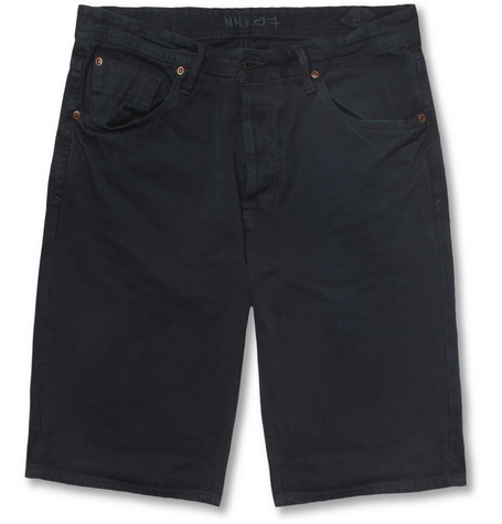 NN.07 Jakob Straight-Leg Overdyed Selvedge Denim Shorts