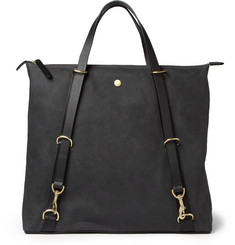 Mismo Leather-Trimmed Waxed-Canvas Tote Bag