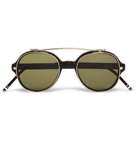 Thom Browne Round-Frame Flip-Lens Optical Glasses