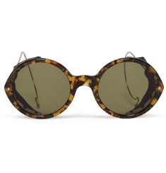 Thom Browne Round-Frame Leather-Trimmed Acetate Sunglasses
