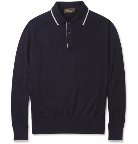 Doriani Long-Sleeved Cotton and Cashmere-Blend Polo Shirt