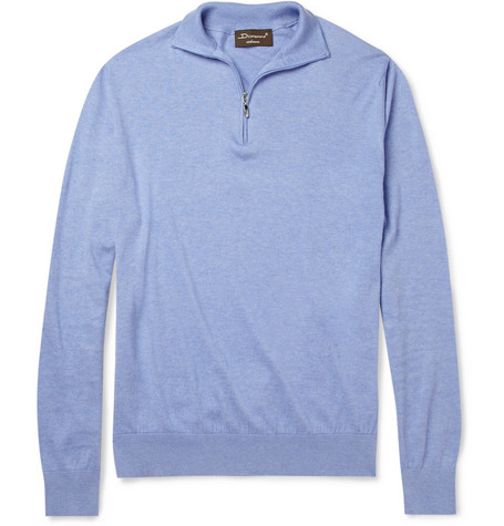 Doriani Zip-Collar Cotton and Cashmere-Blend Sweater