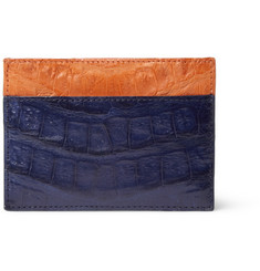 Santiago Gonzalez Two-Tone Crocodile Card Holder